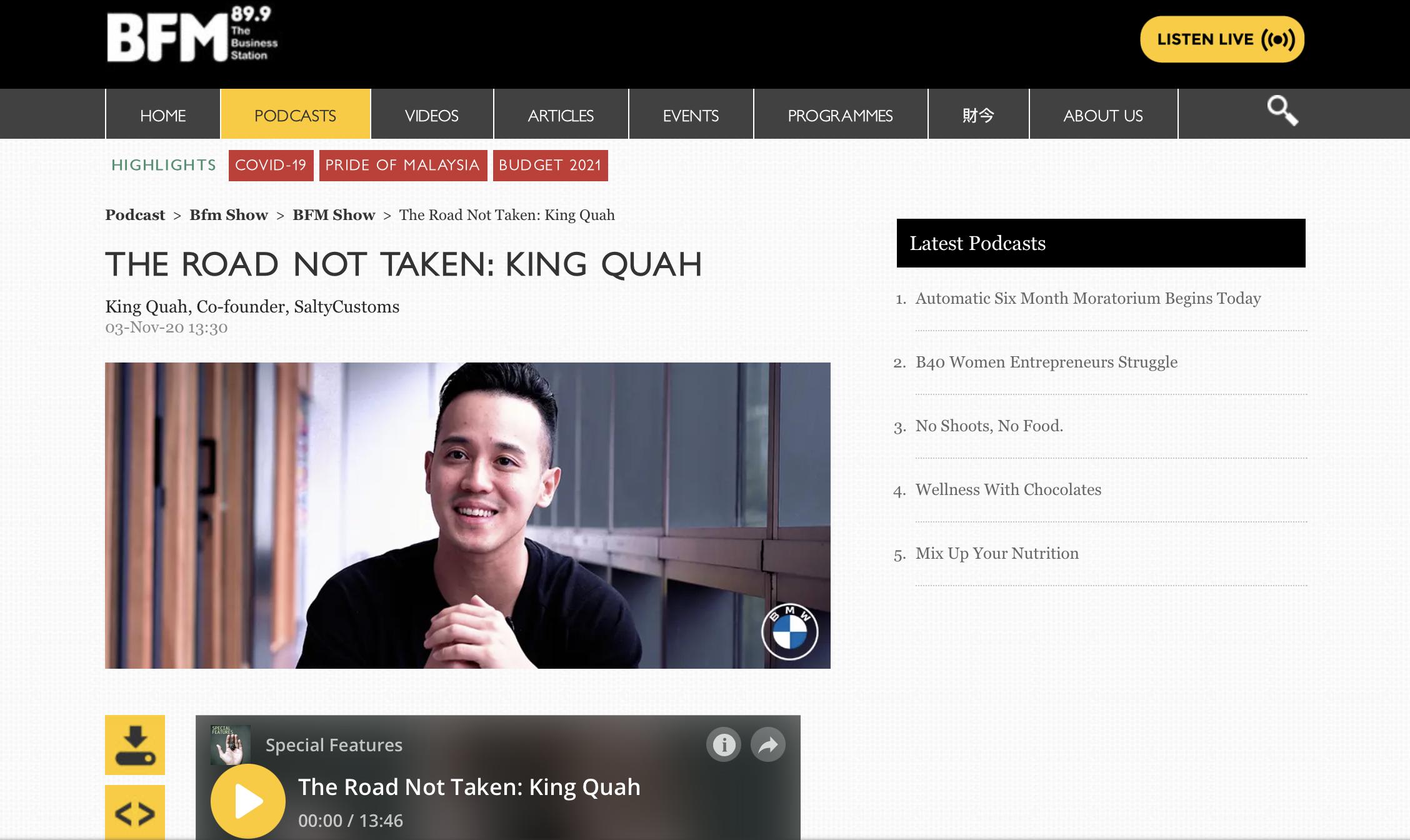 BFM: The Road Not Taken, King Quah