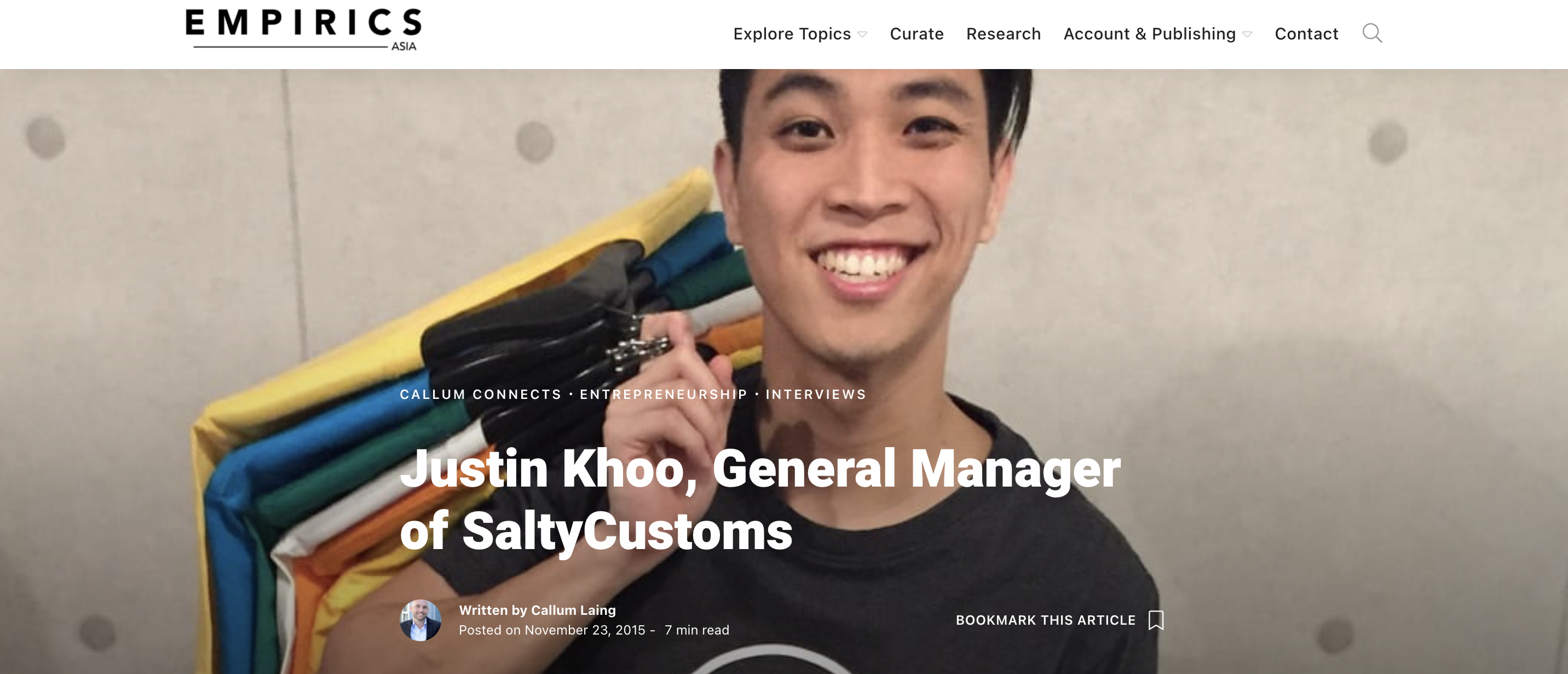 Justin Khoo, General Manager of SaltyCustoms